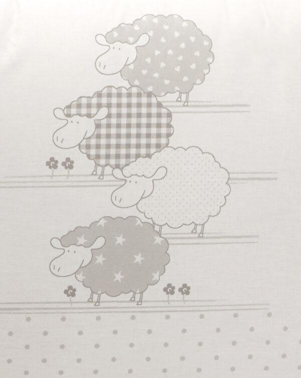 Paracolpi a 4 lati con pecorelle e pois grigio chiaro - Prénatal