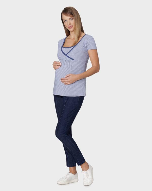 T-shirt per allattamento rigata blu e bianca - Prénatal