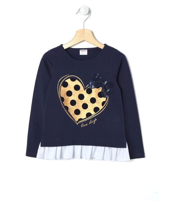 T-shirt con balza e maxi stampa cuore - Prénatal