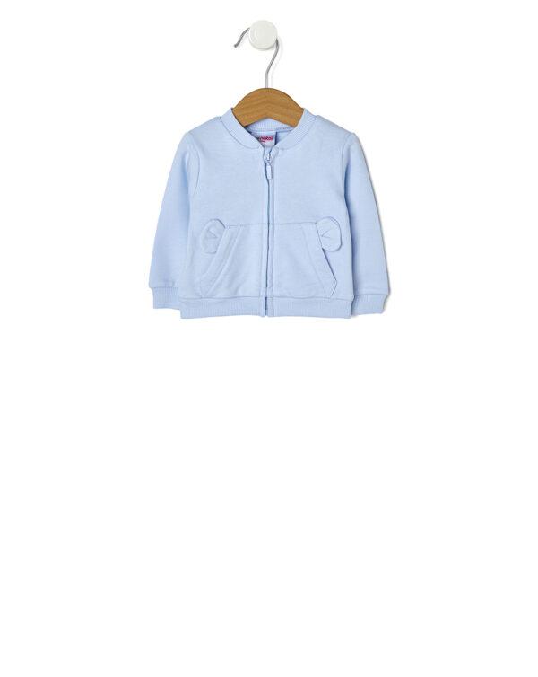 Cardigan in interlock azzurro con tasca a marsupio e orecchie - Prénatal