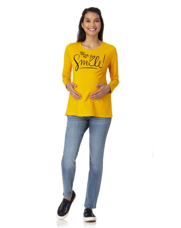 T-shirt manica lunga con stampa floccata - Prénatal