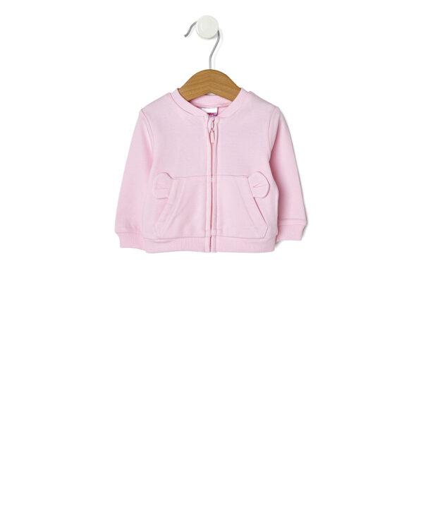 Cardigan in interlock rosa con tasca a marsupio e orecchie - Prénatal