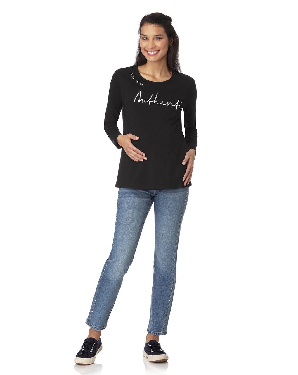 T-shirt manica lunga con stampa argentata - Prénatal