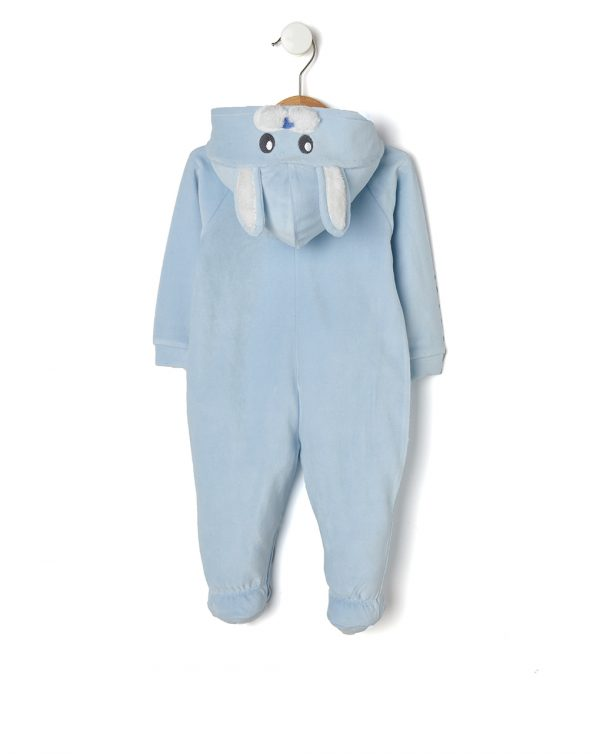 Tutina azzurra con cappuccio e coniglietto - Prénatal