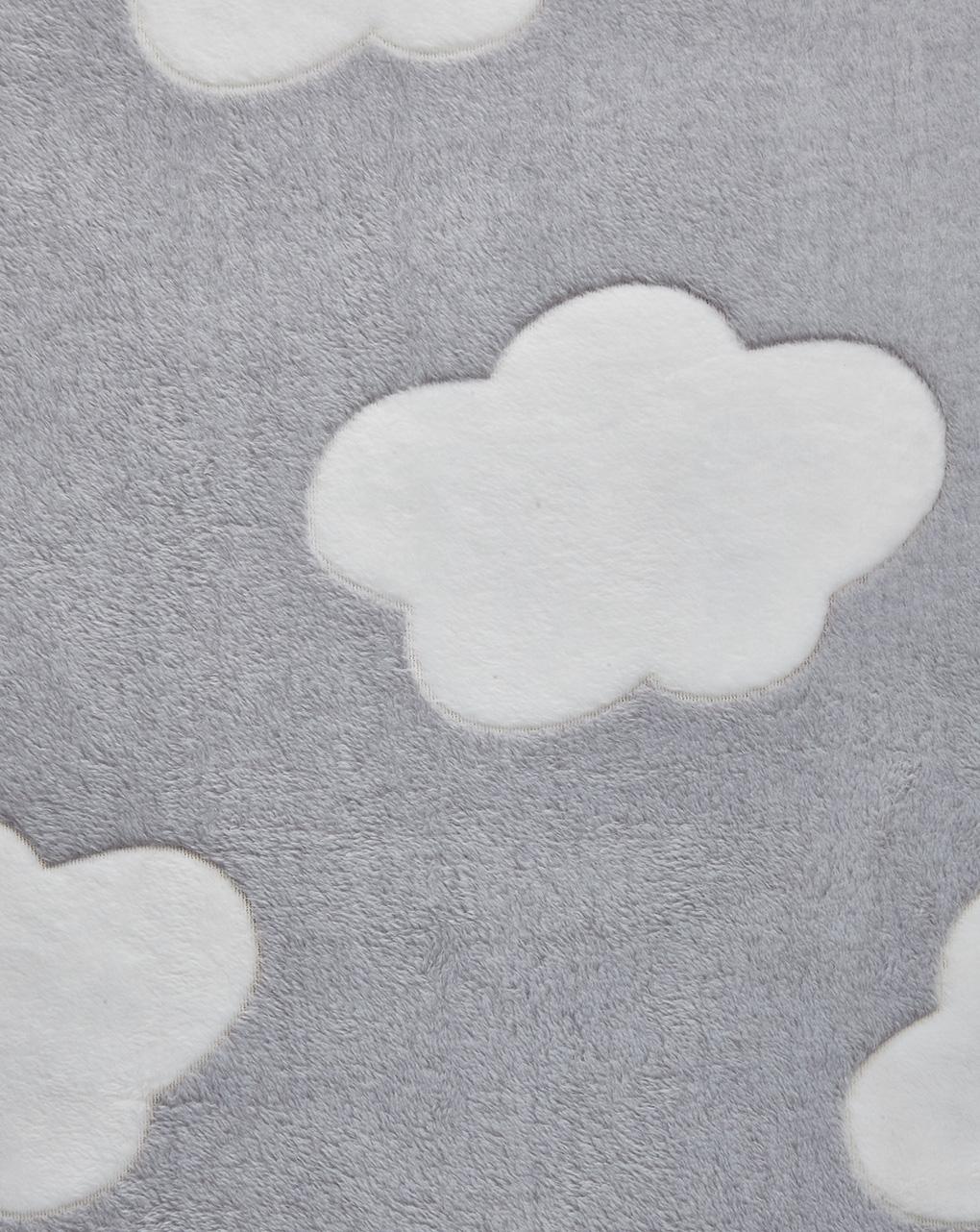 Culla/carrozzina - coperta per culla in finta pelliccetta grigio con nuvole bianche - Prénatal