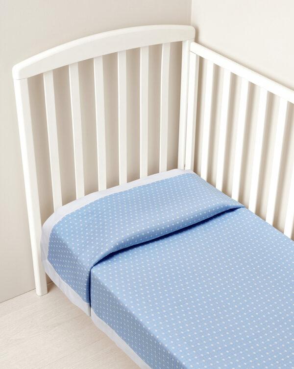 Coperta letto estiva azzurra con bordo bianco - Prénatal