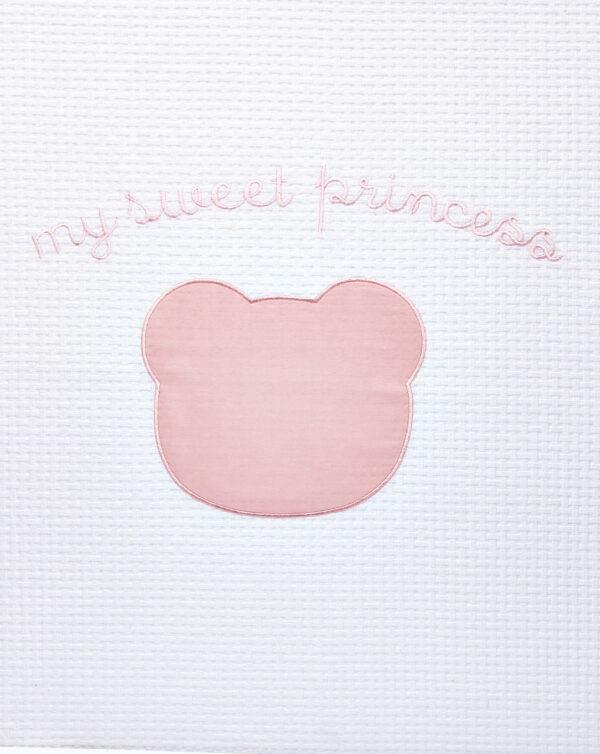 Coperta letto estiva bianca a nido d'ape e orsetto rosa - Prénatal