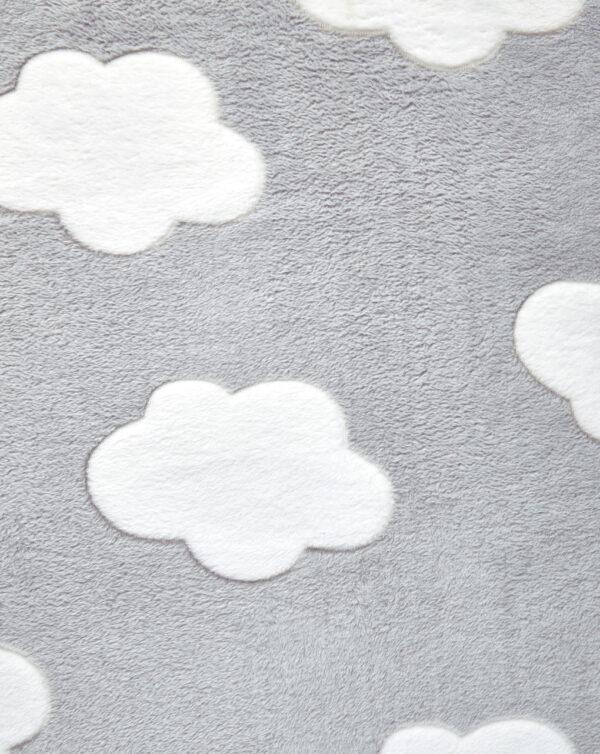 Coperta letto in finta pelliccetta grigia con nuvole - Prénatal