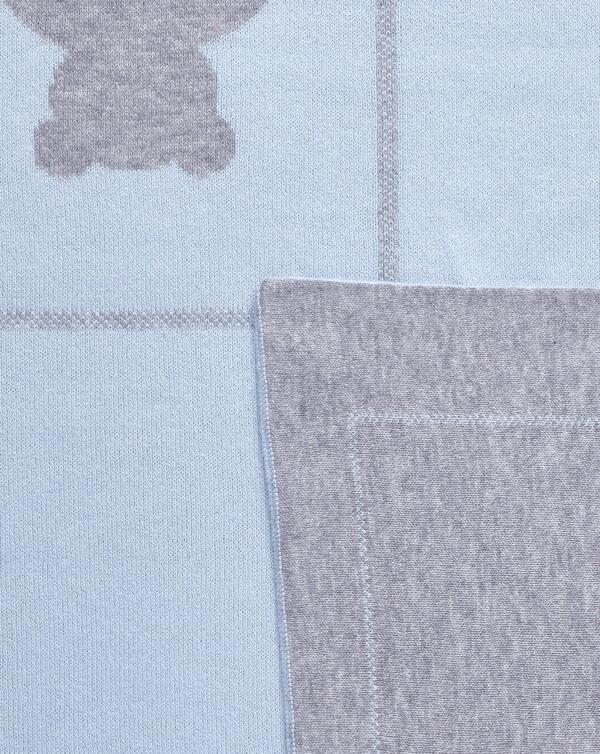 Coperta per culla in tricot di cotone con orsi azzurri e grigio - Prénatal
