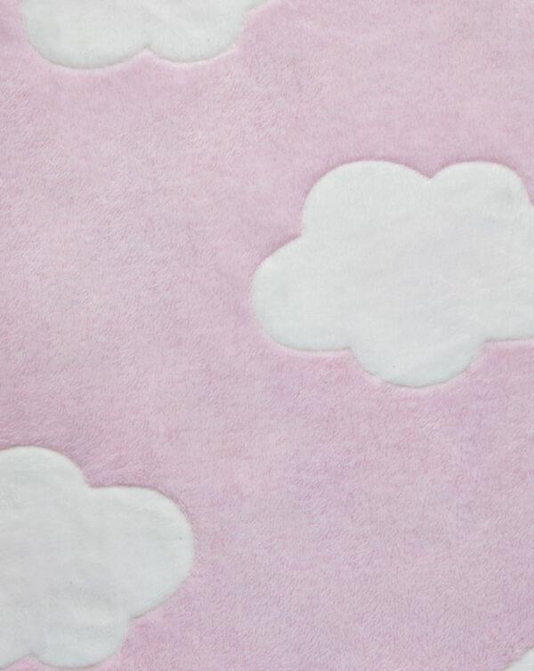 Coperta per culla in finta pelliccetta rosa con nuvole - Prénatal