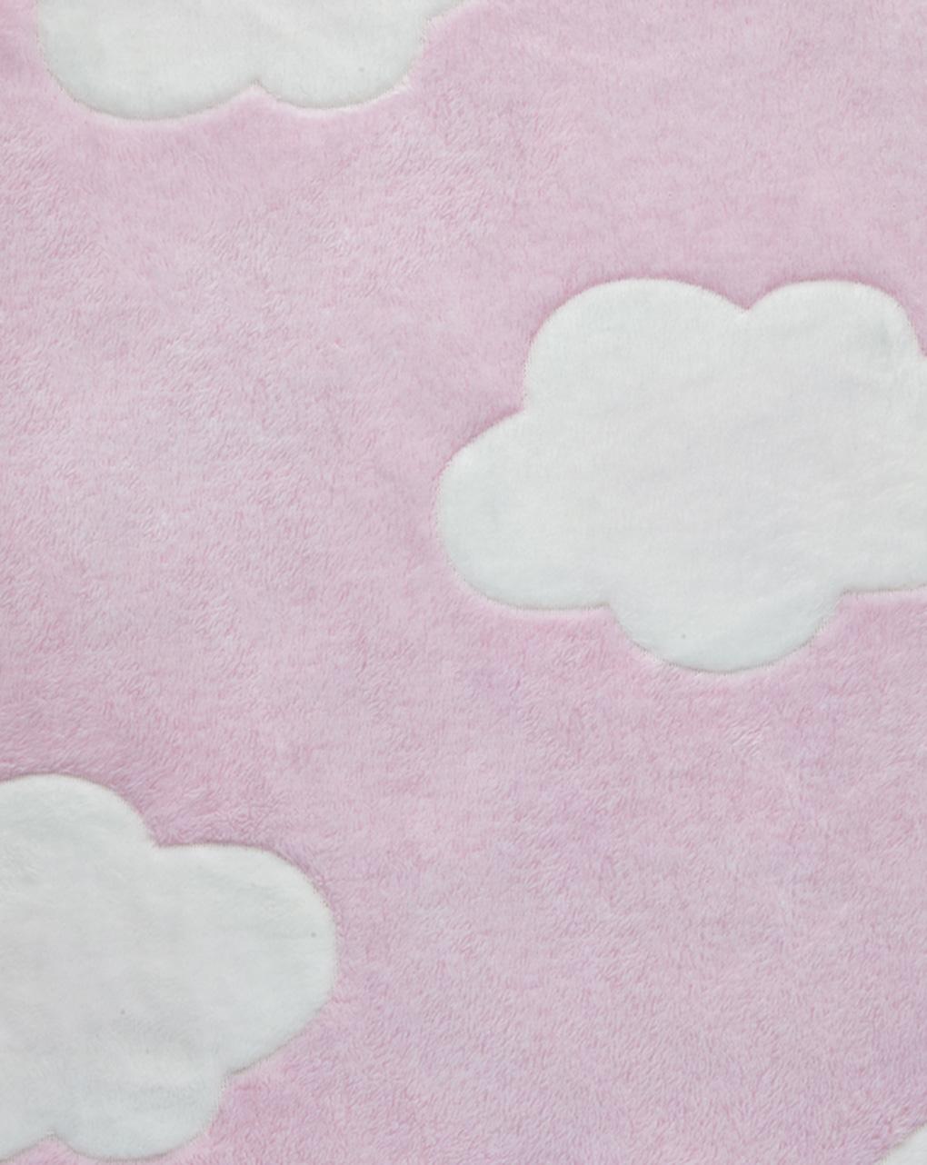 Culla/carrozzina - coperta per culla in finta pelliccetta rosa con nuvole - Prénatal