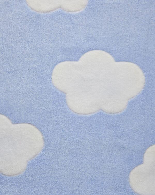 Coperta per culla in finta pelliccetta azzurra con nuvole - Prénatal