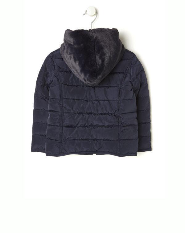 Piumino blu scuro con cappuccio in finto pelo - Prénatal