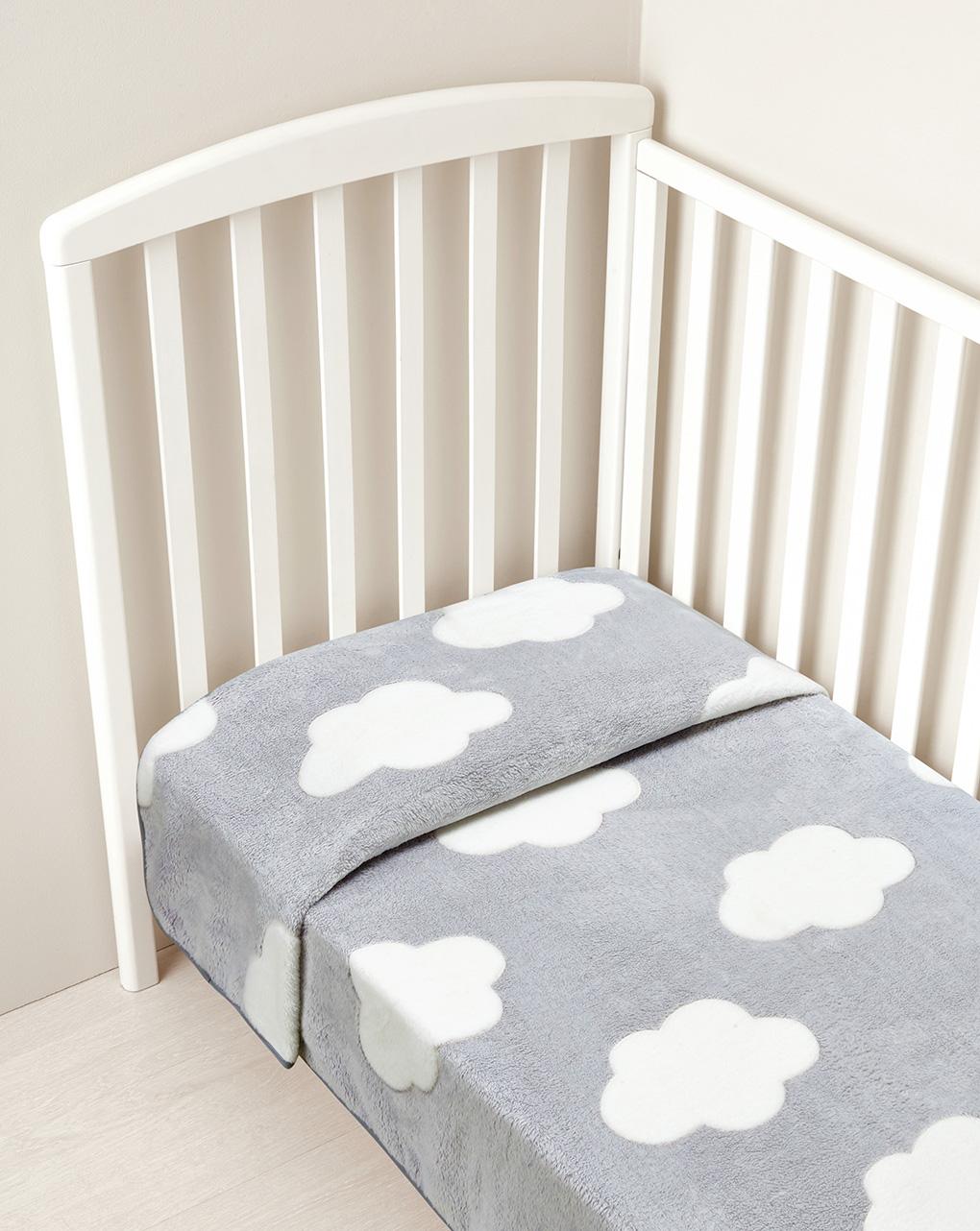 Letto - coperta letto in finta pelliccetta grigia con nuvole - Prénatal