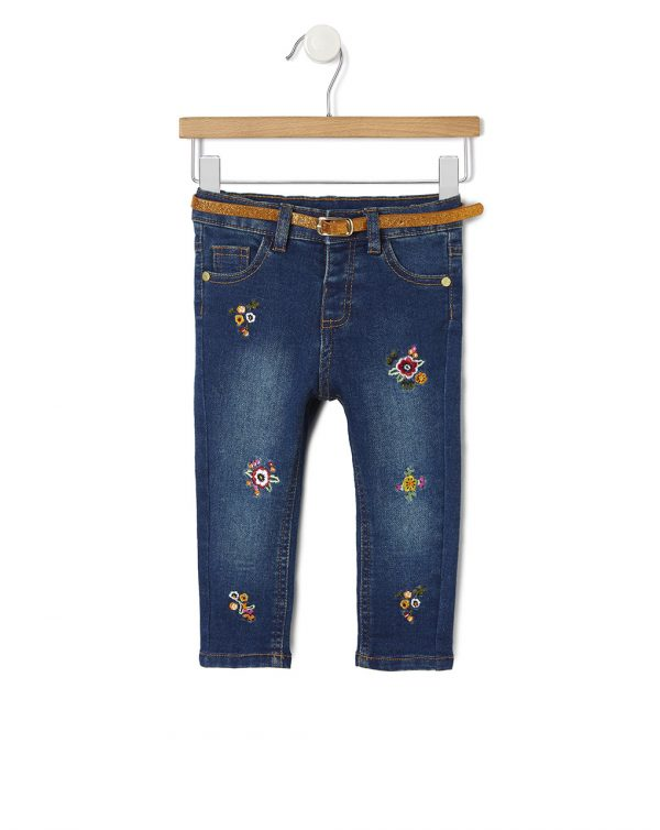 Pantalone in denim con ricami fiorati - Prénatal