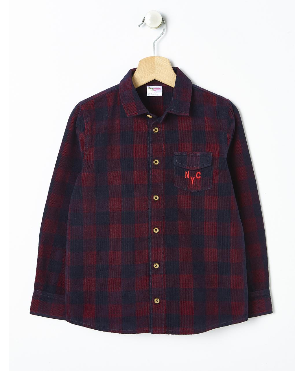 Camicia in velluto a quadri - Prénatal