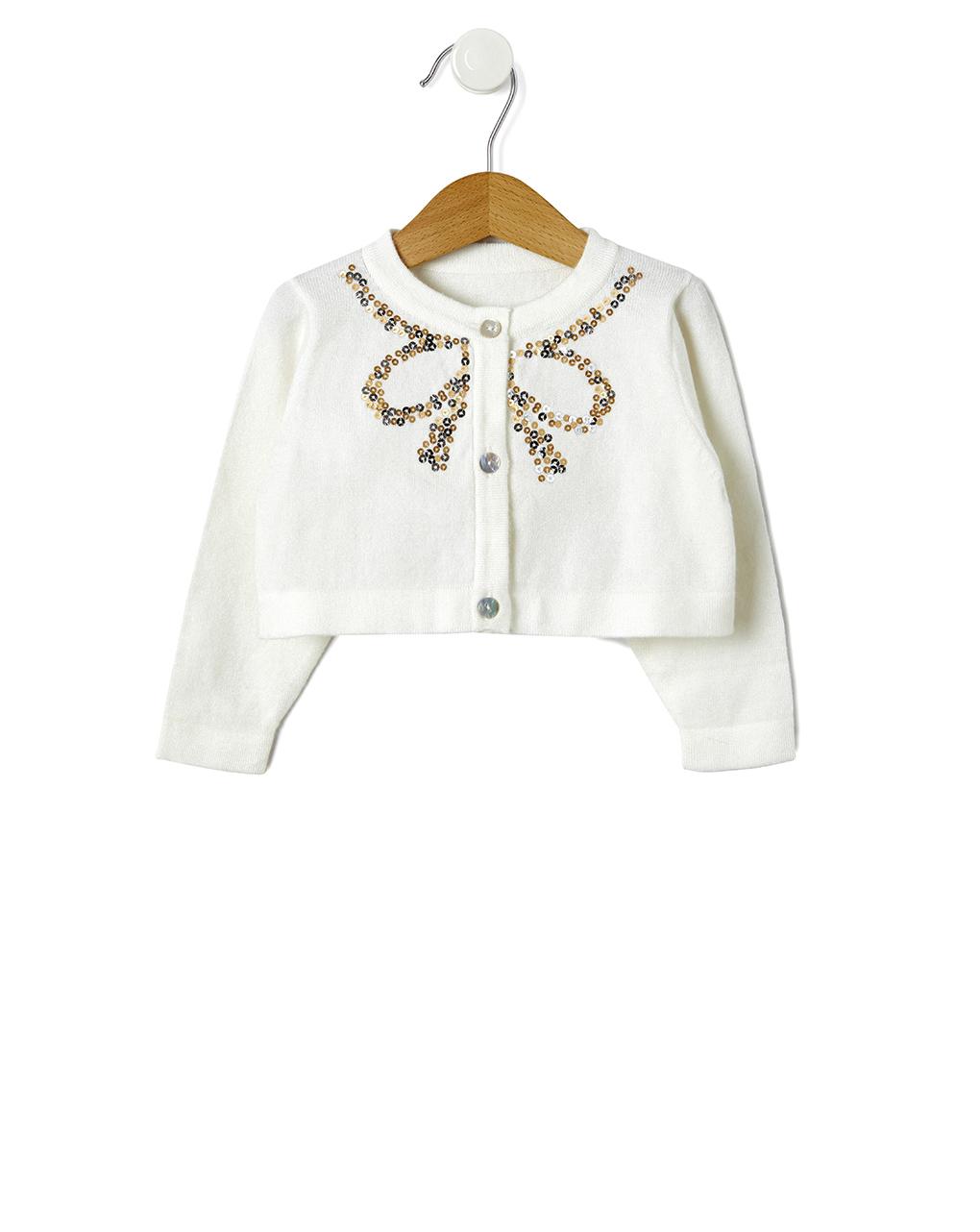 Cardigan tricot panna con fiocco paillettes - Prénatal