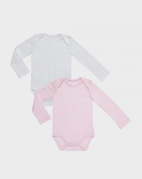 Pack 2 body manica lunga rosa e bianco - Prénatal