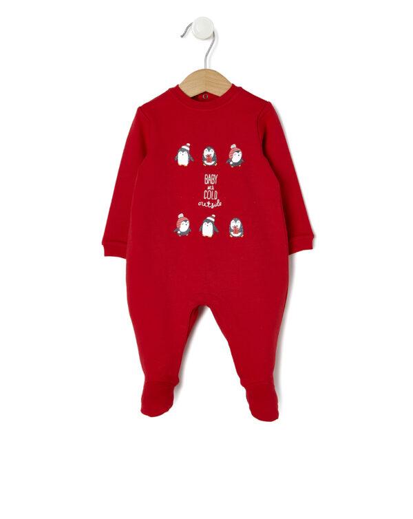 Tutina Natale in felpa rossa con pinguini - Prénatal