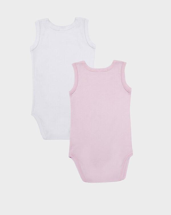 Pack 2 body canotta a costine bianco e rosa - Prénatal