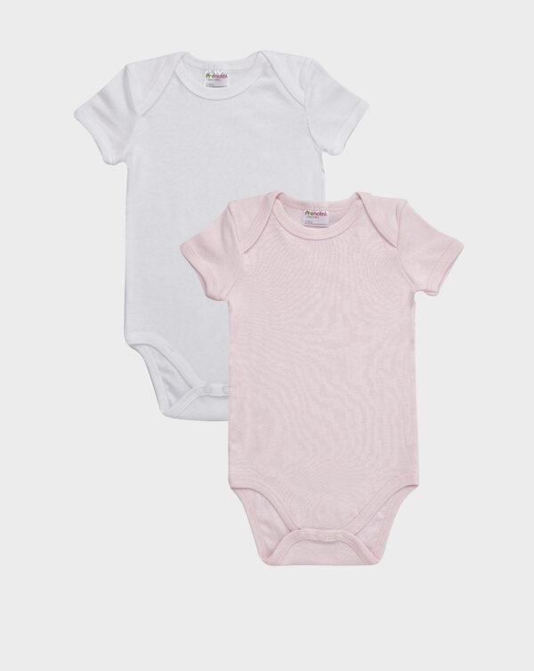 Pack 2 body in cotone rosa e bianco scollo americano - Prénatal