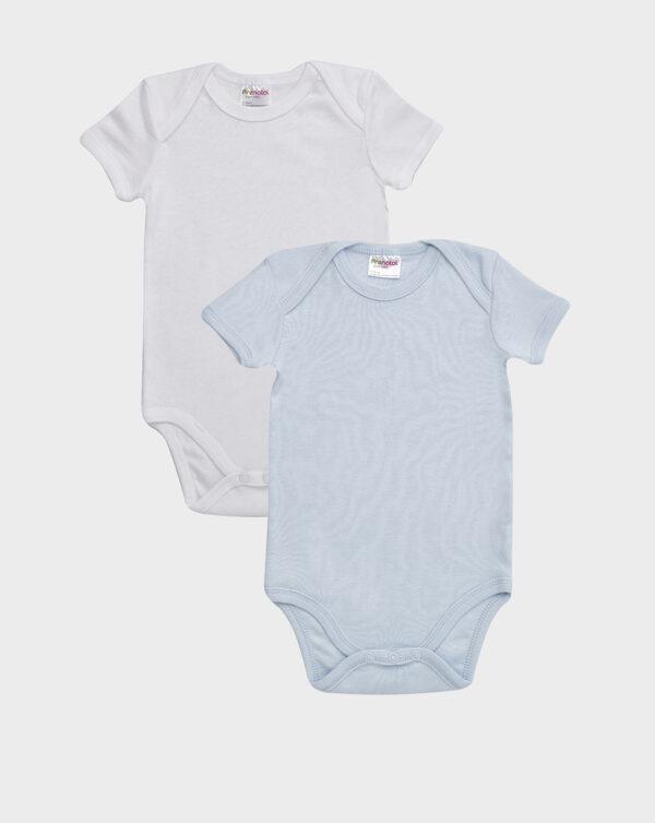 Pack 2 body bianco e azzurro con scollo americano - Prénatal