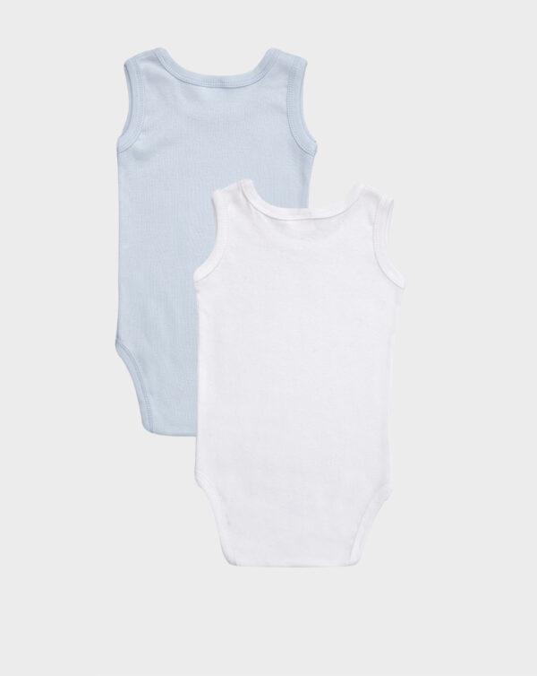 Pack 2 body a canotta in tinta unita bianco e azzurro - Prénatal