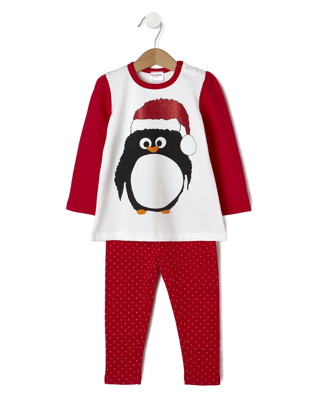 Pigiama 2 pezzi natale con pinguino e cappello lurex - Prénatal