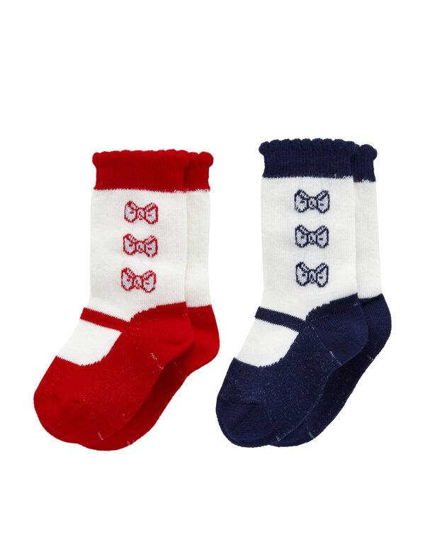 Pack 2 calze con ricamo fiocchi - Prénatal