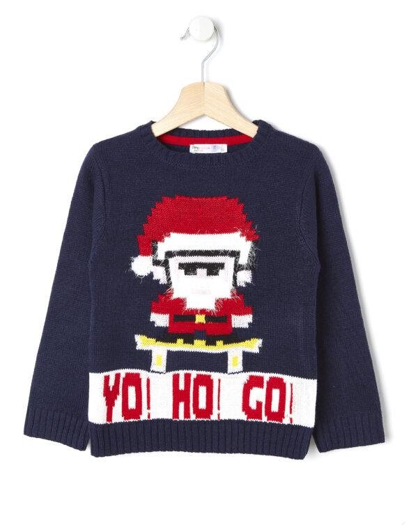 Maglia in tricot blu con Babbo Natale - Prénatal