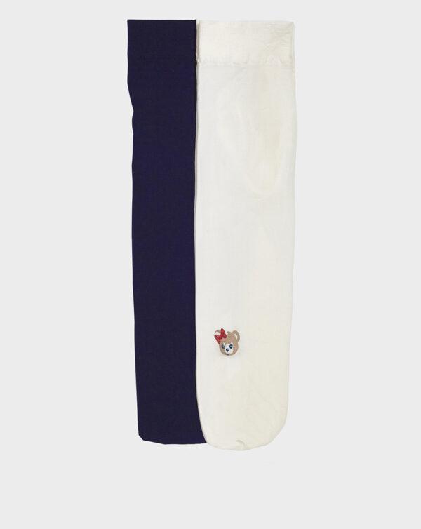 Pack 2 paia di collant blu e panna con orsetto - Prénatal