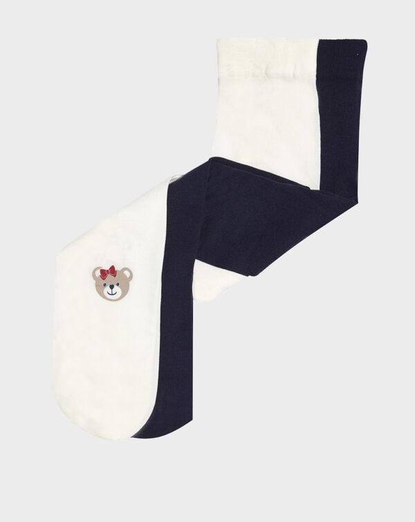 Pack 2 paia di collant blu e panna con orso - Prénatal
