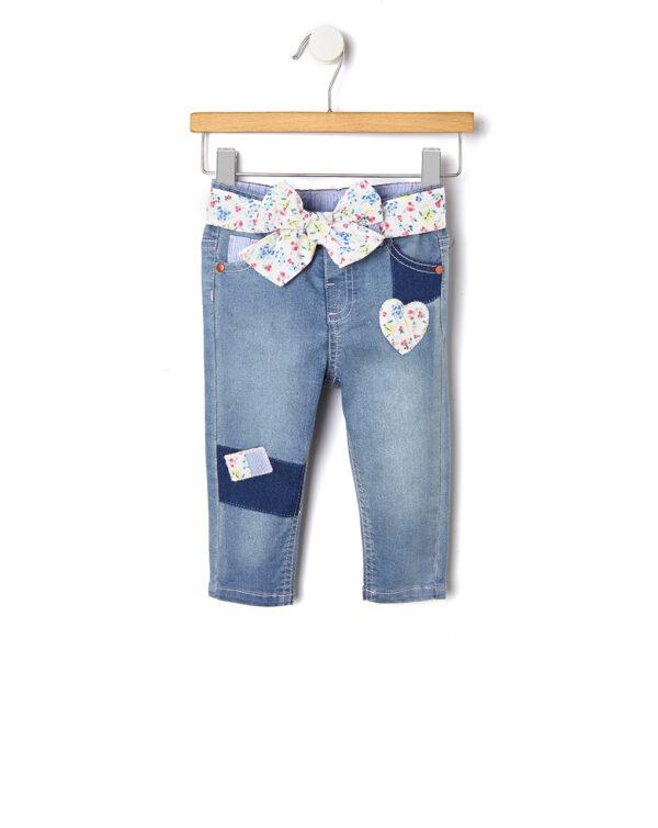 Pantalone in denim con patch e cintura a fiori - Prénatal