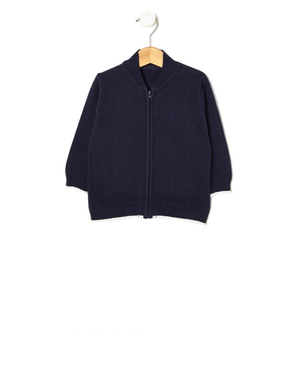 Cardigan tricot blu scuro con zip - Prénatal