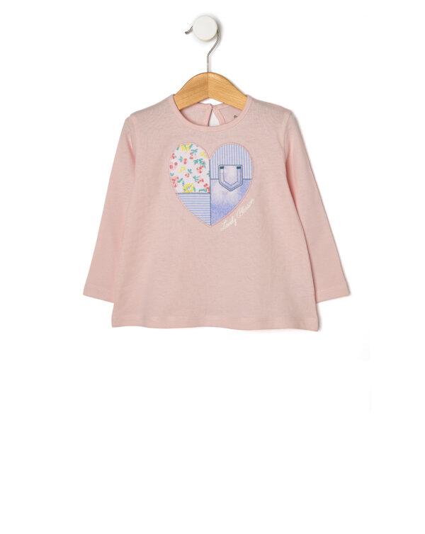 T-shirt rosa chiaro con cuore patch - Prénatal