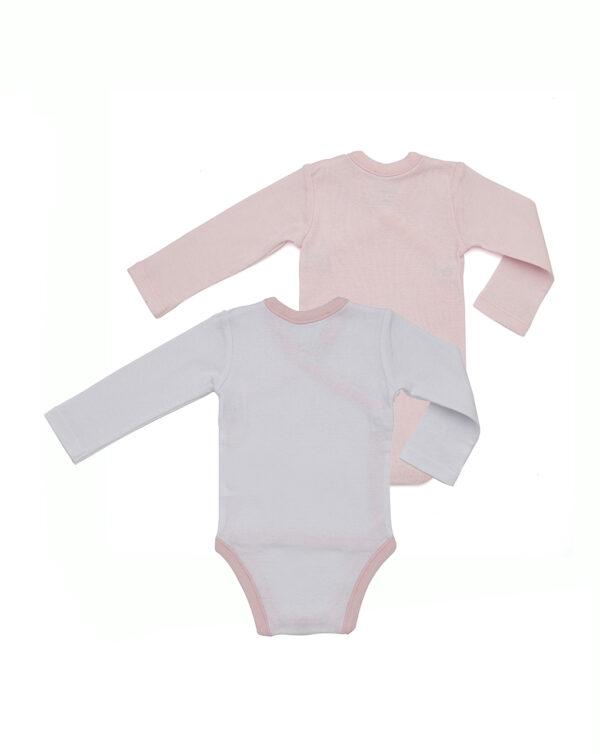 Pack 2 body rosa e bianco con apertura laterale - Prénatal