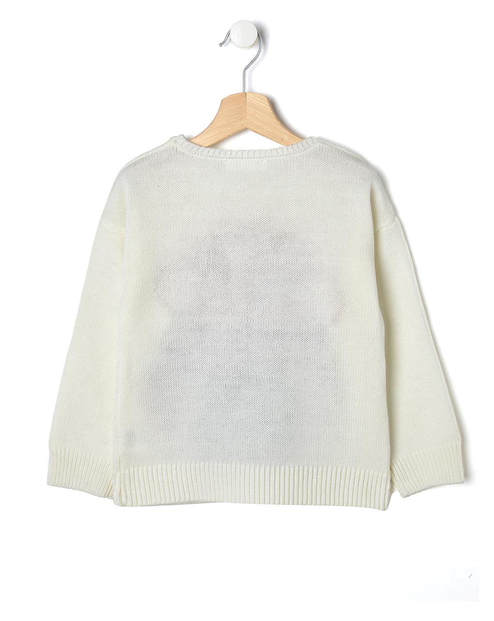 Maglia natalizia in tricot panna con pinguino - Prénatal
