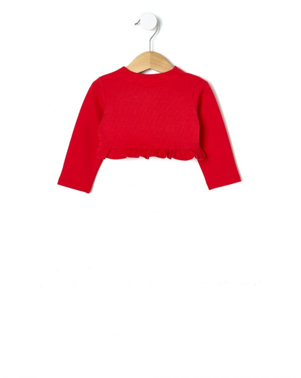 Cardigan in felpa rosso con ricami floreali - Prénatal
