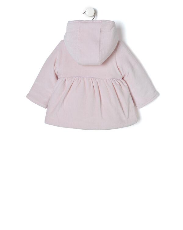 Giubbino in ciniglia rosa chiaro con impunture e fiocchi - Prénatal