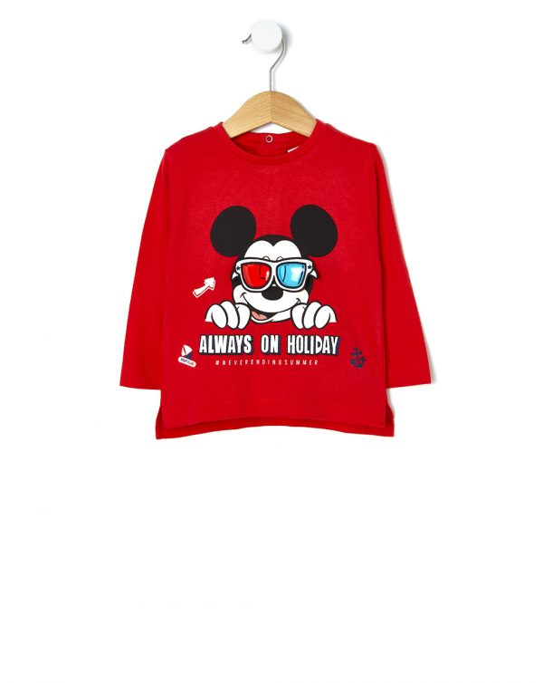 T-shirt manica lunga con stampa Mickey Mouse - Prénatal