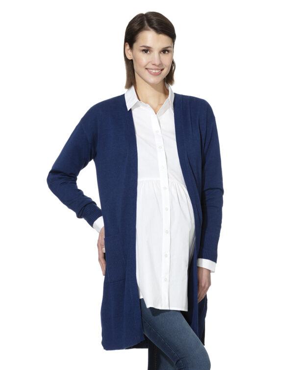 Cardigan lungo in tricot blu - Prénatal