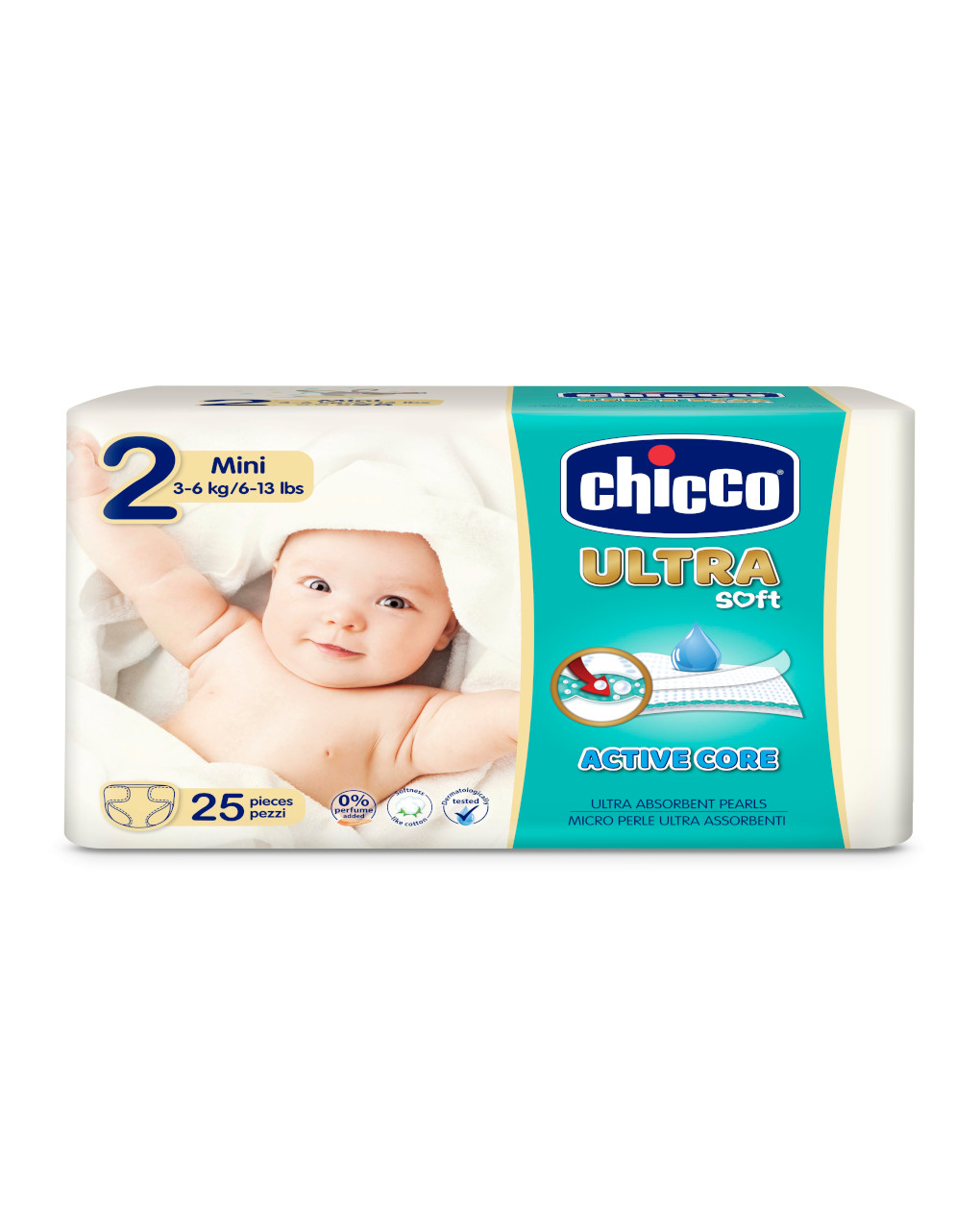 Chicco - pannolini ultra soft tg. 2 (3-6 kg) - pacco singolo 25 pz - Chicco