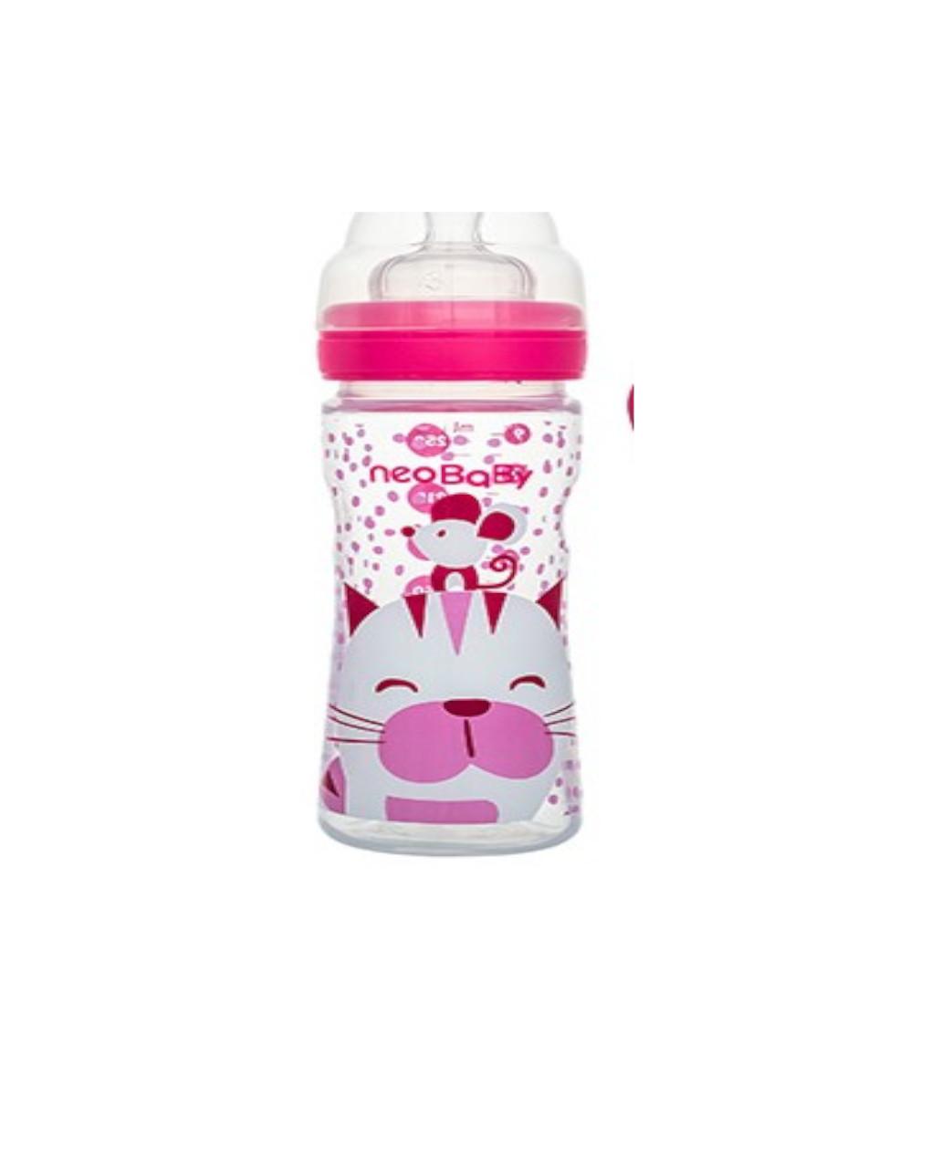 Biberon collo largo silicone rosa 250 ml - Neo Baby
