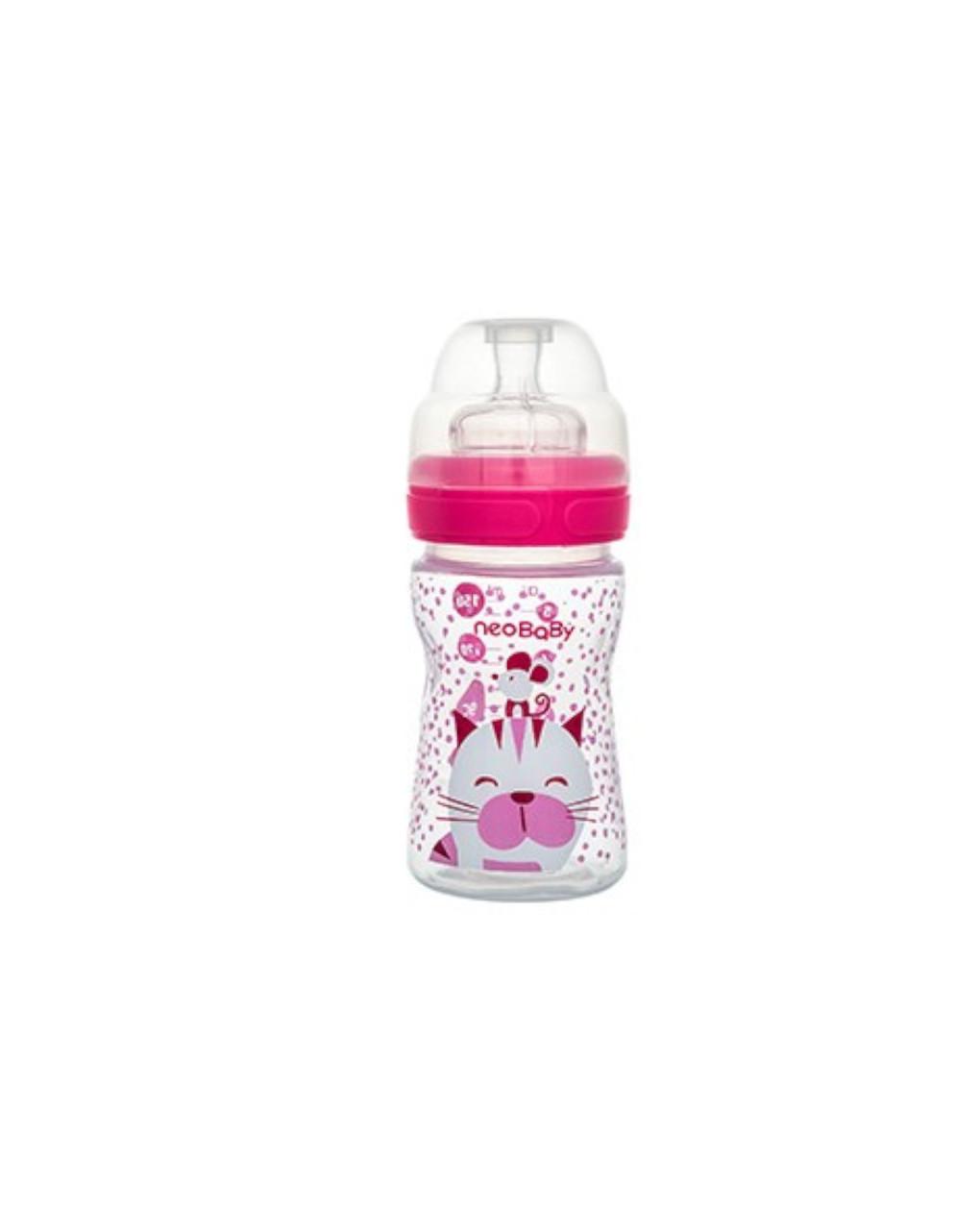 Biberon collo largo silicone rosa 150 ml - Neo Baby