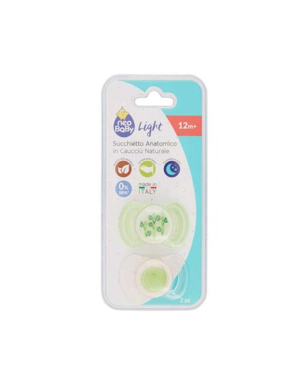 Succhietti light caucciù 12m+ verde - Neo Baby