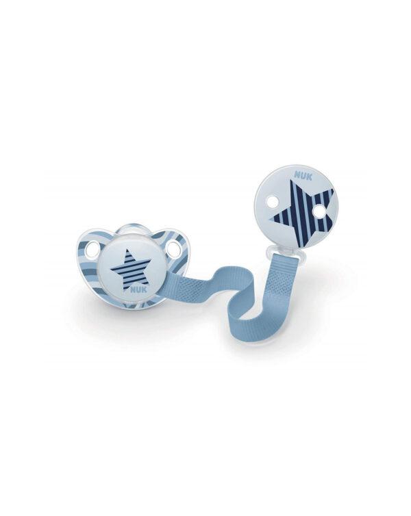 Set succhietto silicone +clip blu - Nuk