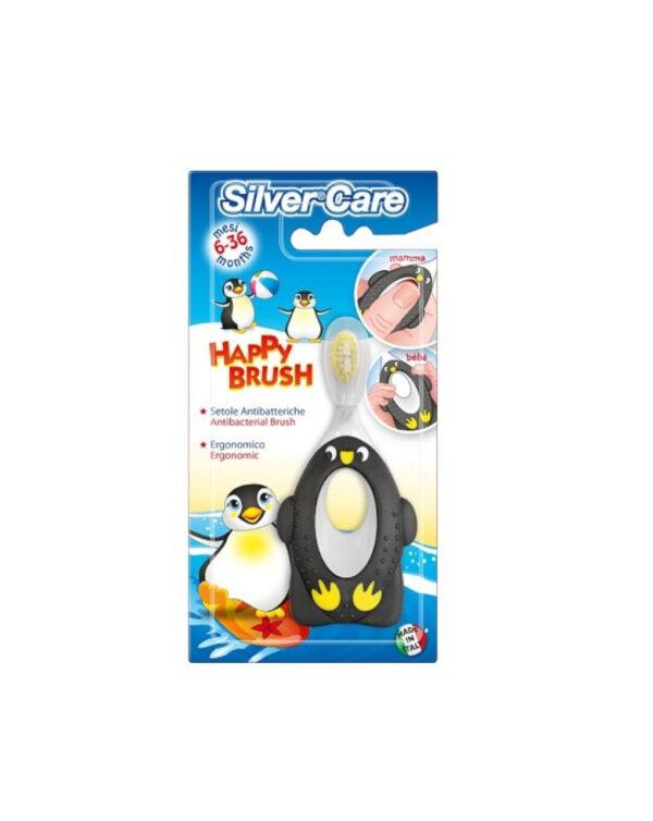 Spazzolino Happy Brush pinguino 6-36m - Silver Care