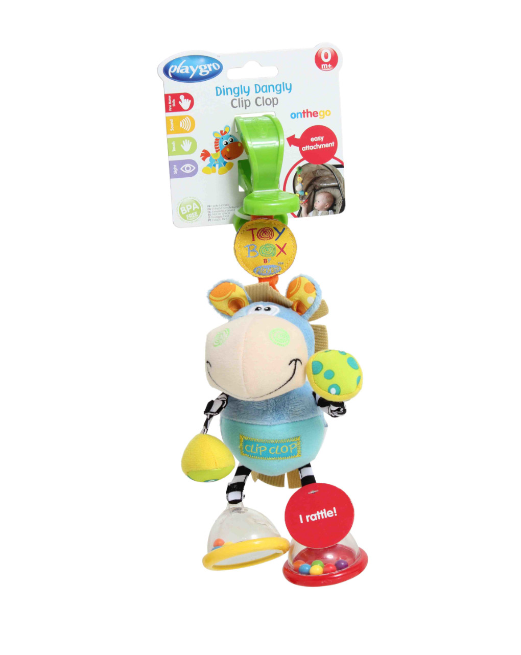Playgro - toy box dingly dangly clip clop (small header card) - Playgro