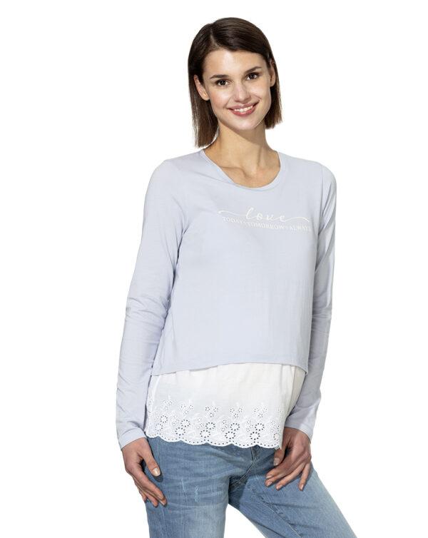 T-shirt manica lunga con inserto in sangallo - Prénatal