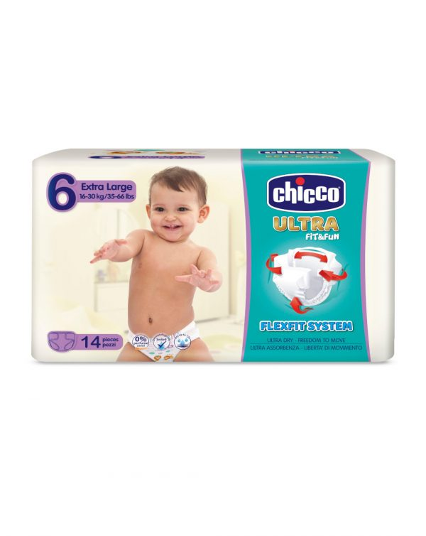 Chicco - Pannolini Ultra Soft tg. 6 (16-30 Kg) - pacco singolo 14 pz - Chicco